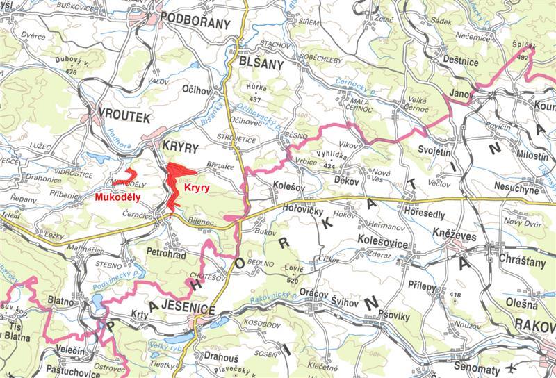 Mapa vodního díla Kryry a Mukoděly
